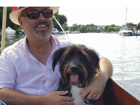Colin and Tracy recently joined August with their handsome furry pal - Seamus