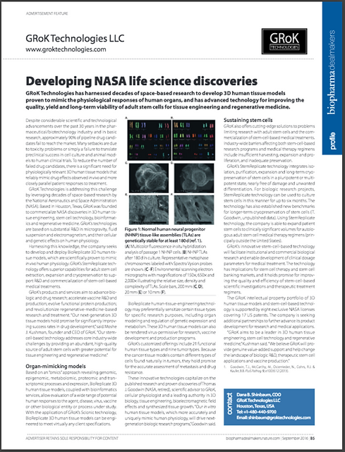 GRoK Technologies article: Developing NASA Life Science Discoveries
