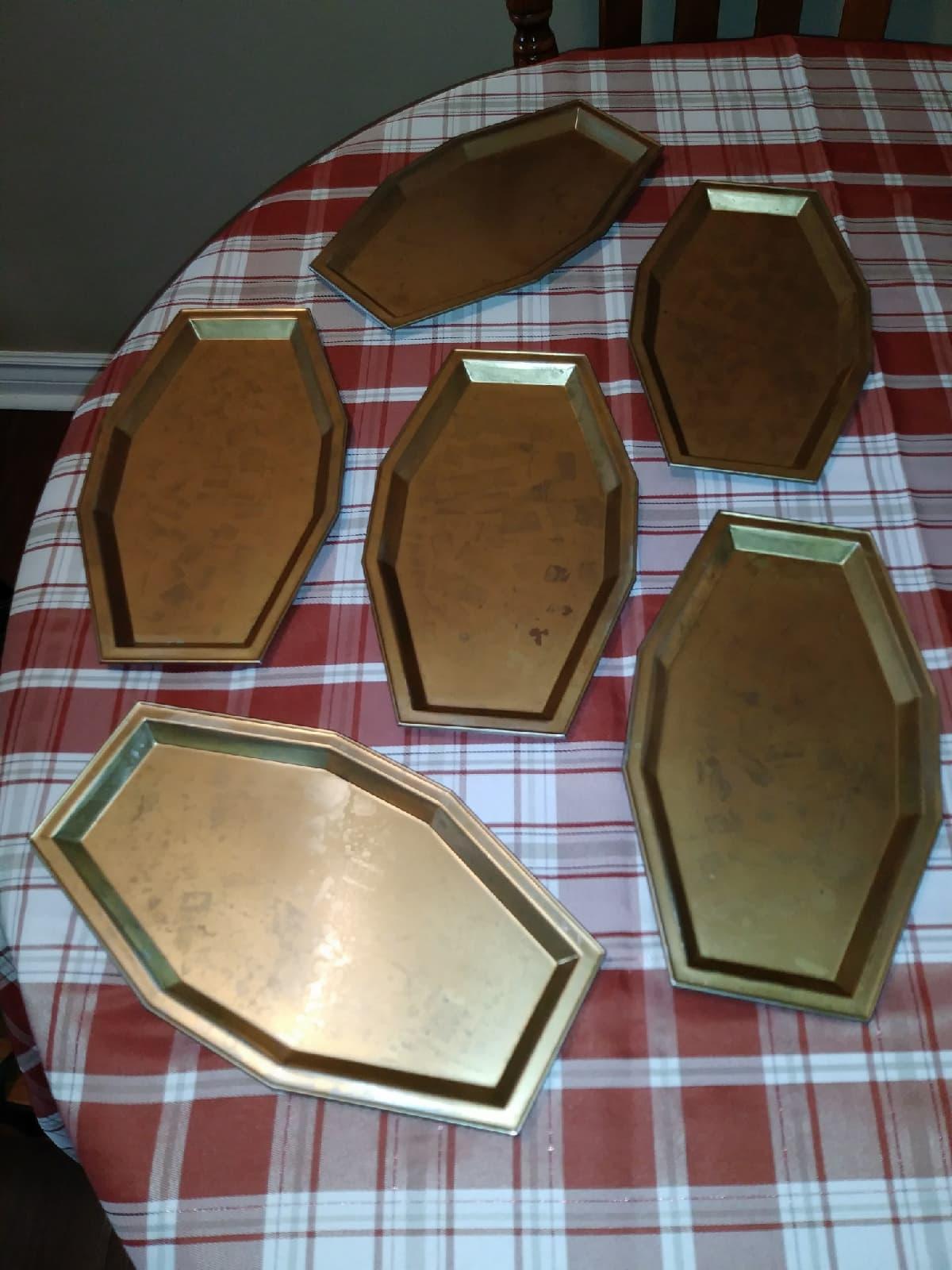 Set of 6 small brass trays - $10.00