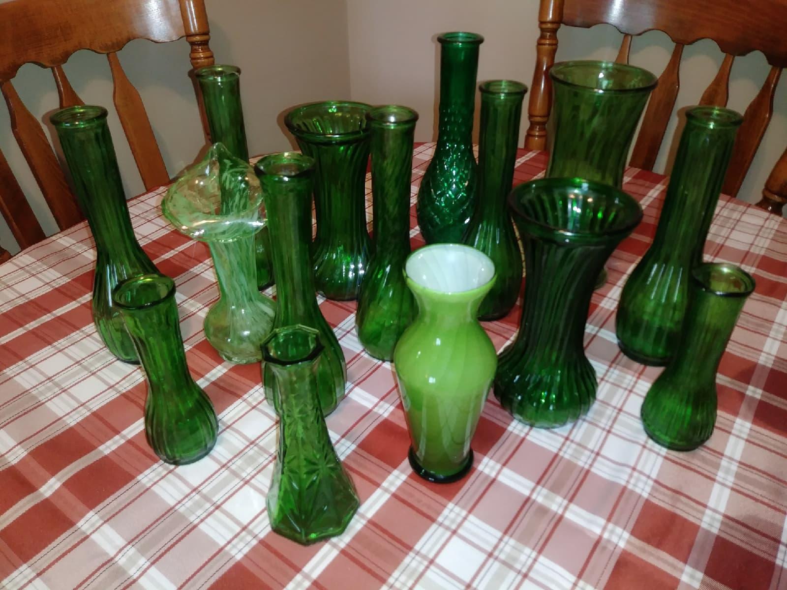 Green Glass Vases - $26.00