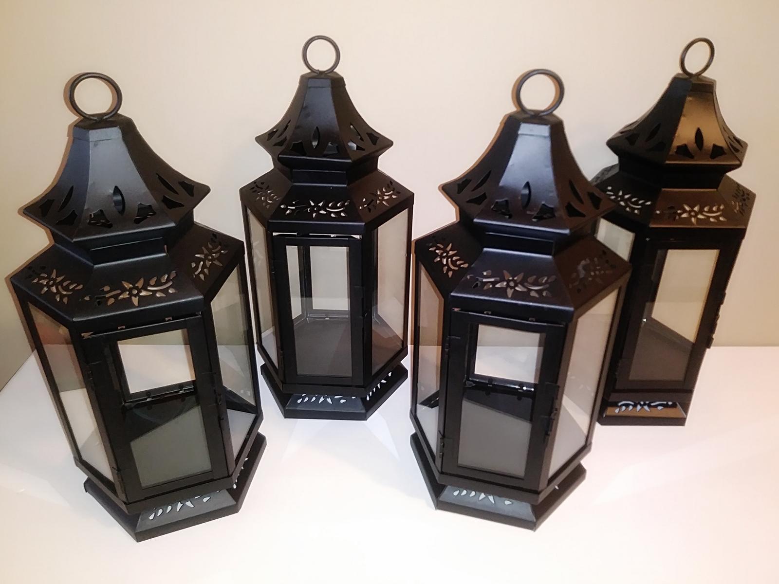 Set of 4 Lg Black Lanterns - $35.00