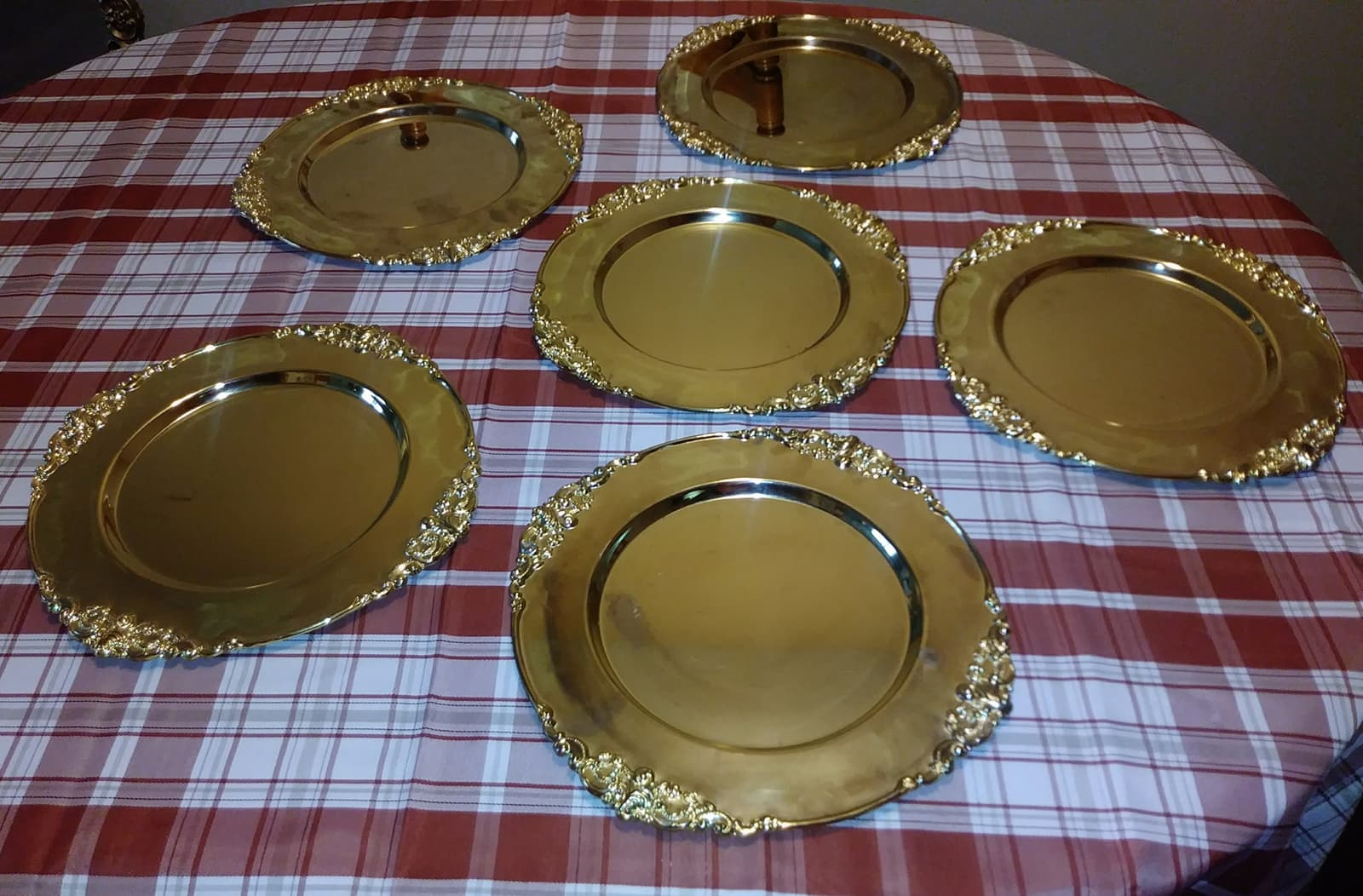 Set of 6 heavy gold chargers- $15.00