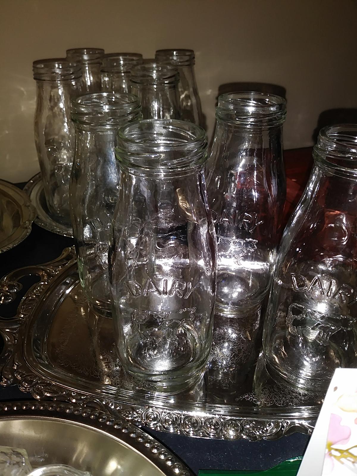 Set of 24 glass milk bottles- $25.00