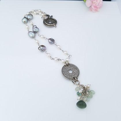 Luxury Freshwater Pearl and Aquamarine Necklace