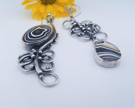 Fordite Flowers - earrings