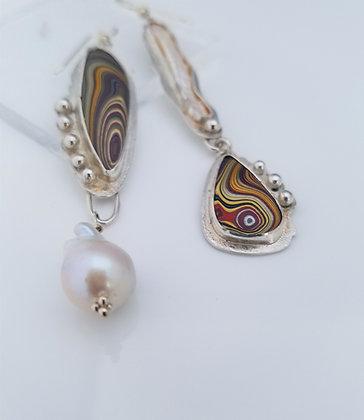 Asymmetrical Fordite Earrings