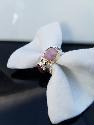 Square Kunzite Stacking Ring in Sterling Silver