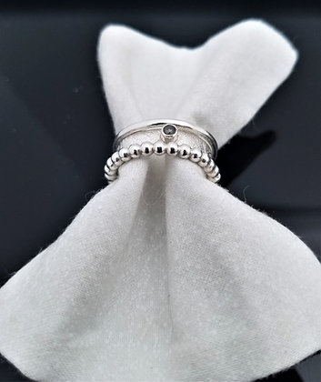 Petite Diamond Stacking Ring in Sterling Silver