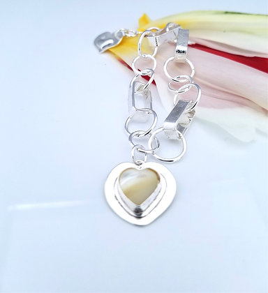 Mother of Pearl Hearts For Heroes Bracelet