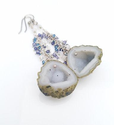 White Geode Earrings