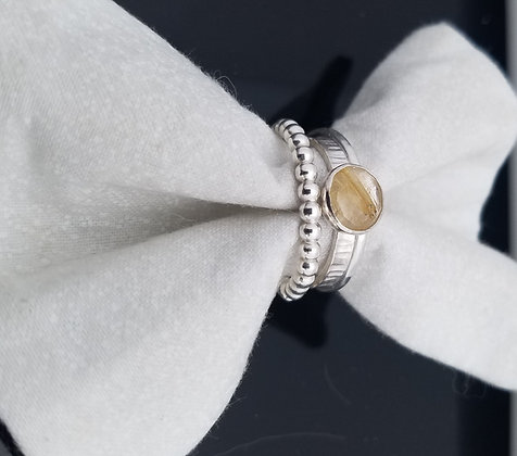 Rutilated Quartz Stacking Ring in Sterling Silver