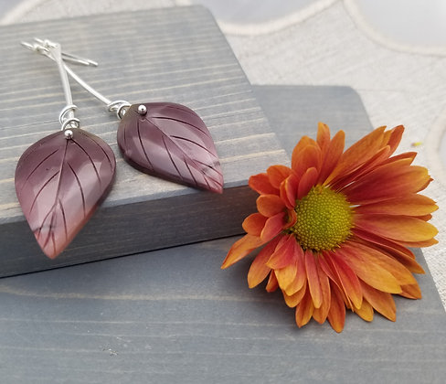 Carved Mookaite Leaf Earrings