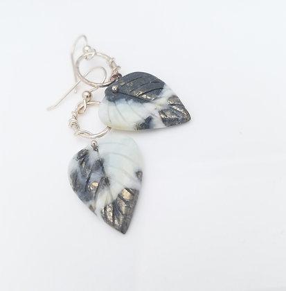 Carved Amazonite Leaf Earrings