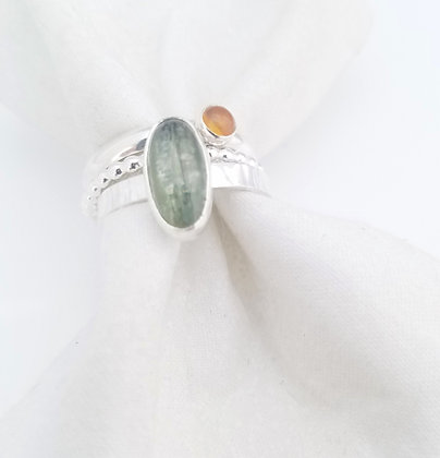 Green Kyanite Stacking Ring in Sterling Silver