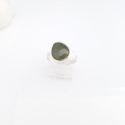 Green Sapphire Freeform Sterling Silver Ring