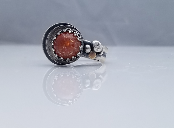 Sunstone 18K Gold and Sterling Silver Handmade Ring