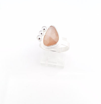 Peach Moonstone Freeform Sterling Silver Ring