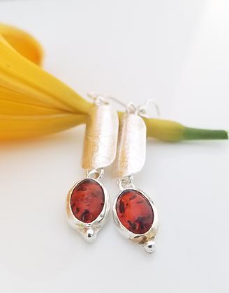 Orange Baltic Amber Earrings