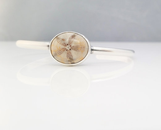 Stacking Fossilized Sand Dollar Cuff Bracelet