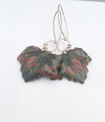 Carved Picasso Jasper Leaf Earrings