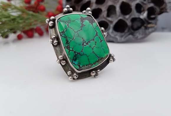 Chinese Turquoise Ring in Sterling Silver Handmade Ring