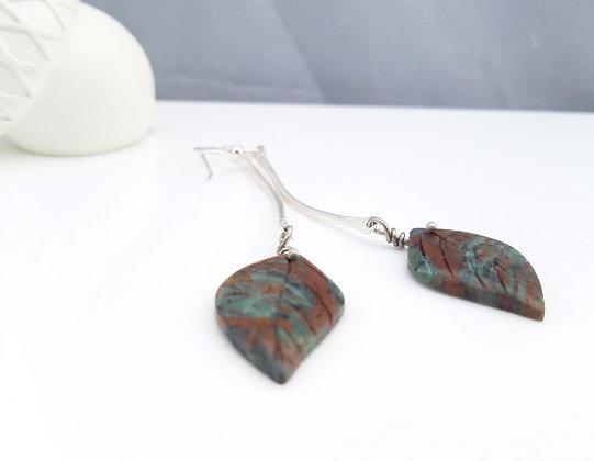 Carved Green Jasper Earrings