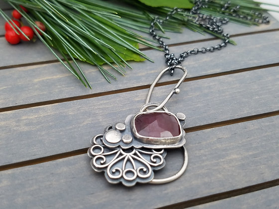 Natural Red Sapphire Necklace