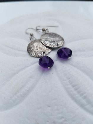 Amethyst Disc Earrings
