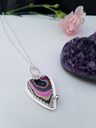 Pastel Fordite Heart Necklace