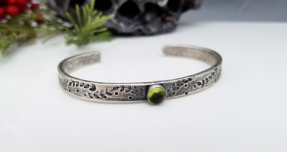 Natural Peridot Cuff Bracelet
