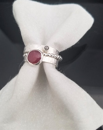 Freeform Ruby Stacking Ring in Sterling Silver