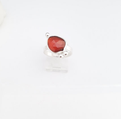 Freeform Hessonite Garnet Sterling Silver Ring