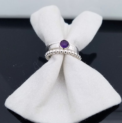 Amethyst Stacking Ring in Sterling Silver