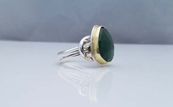 Serpentine 18K Gold and Sterling Silver Handmade Ring