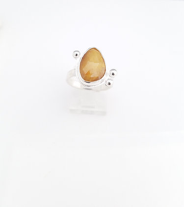 Yellow Sapphire Freeform Sterling Silver Ring