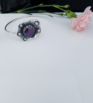 Purple Freshwater Pearl Cuff Bracelet