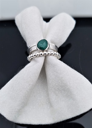 Freeform Emerald Stacking Ring in Sterling Silver