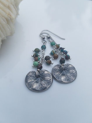 Turquoise and Silver Lily Pad Earrings