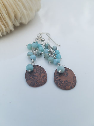 Copper Disc and Larimar Earrings
