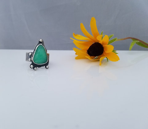 Sterling Silver Chrysoprase Ring 2