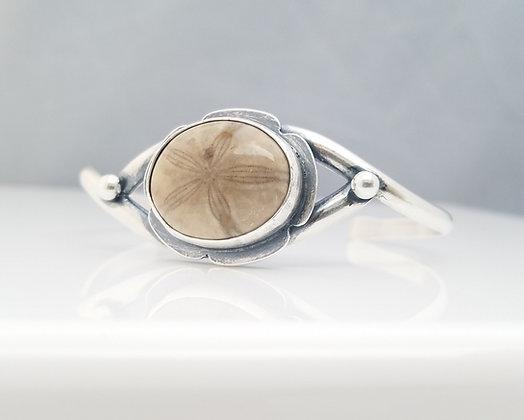 Fossilized Sand Dollar Cuff Bracelet