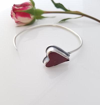 Mookaite Heart Cuff Bracelet