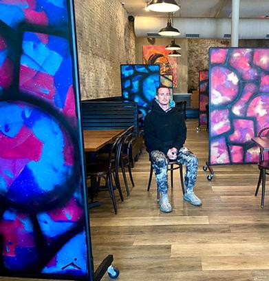 Artist Joe Taveras in Restaurant