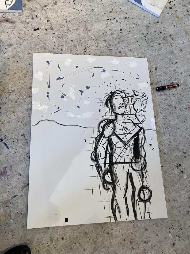 Boy Leading a Robot (Progress Pic)