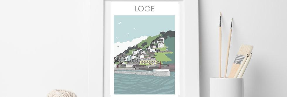 LOOE HARBOUR ENTRANCE CORNWALL ART PRINT