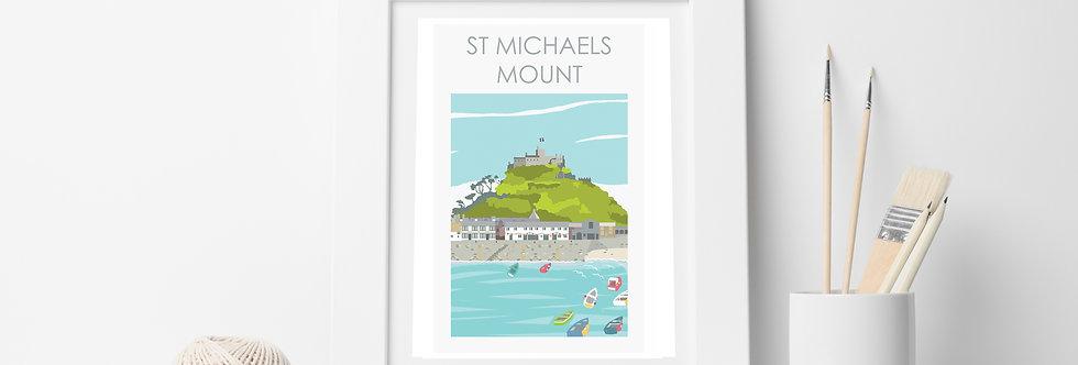 ST MICHAELS MOUNT CORNWALL PRINT