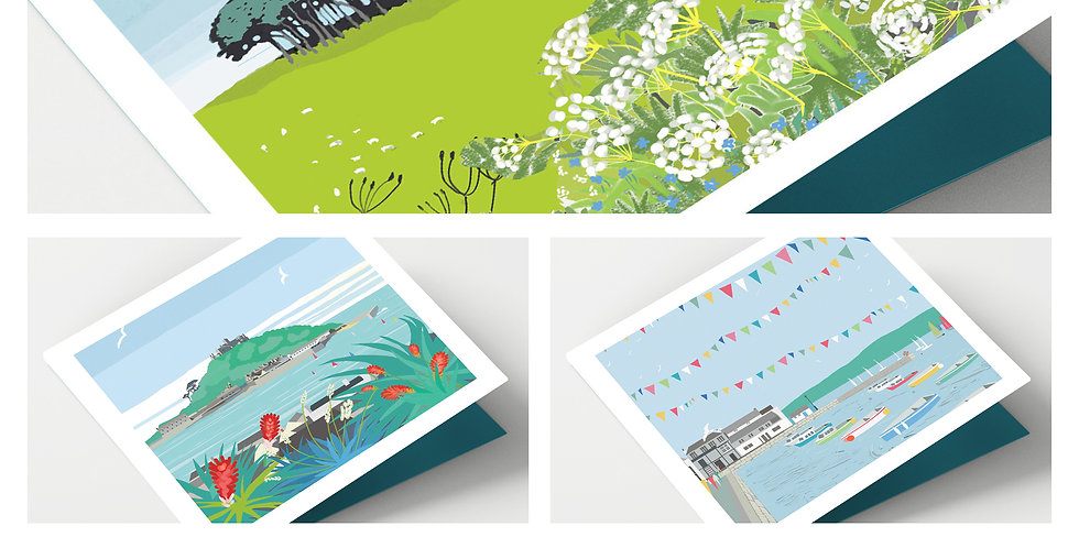 Set Of Eight Iconic Cornwall Cards