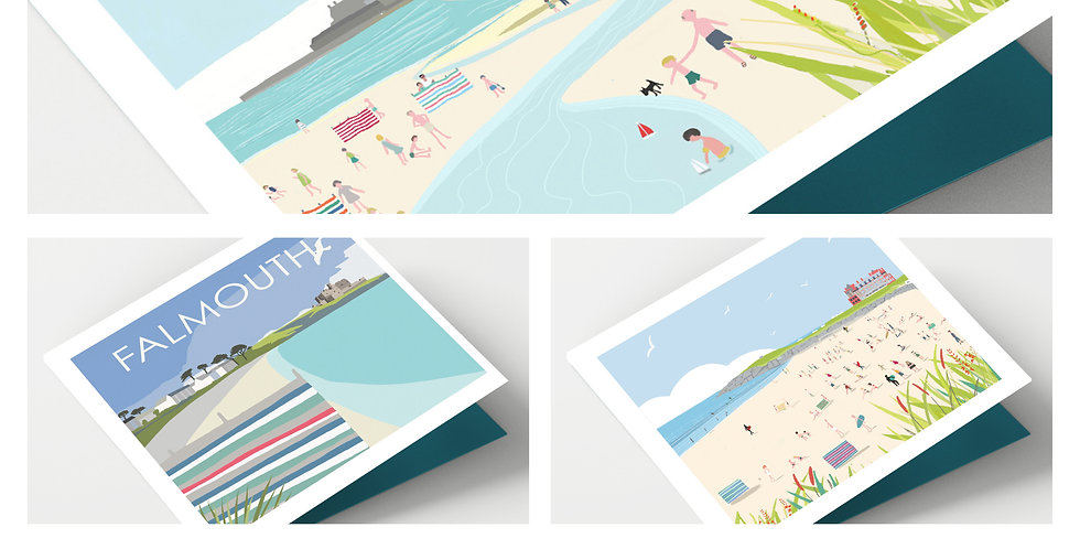 Set Of Eight Cornwall Beaches Cards
