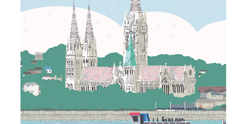 TRURO FROM THE RIVER CORNWALL CARD