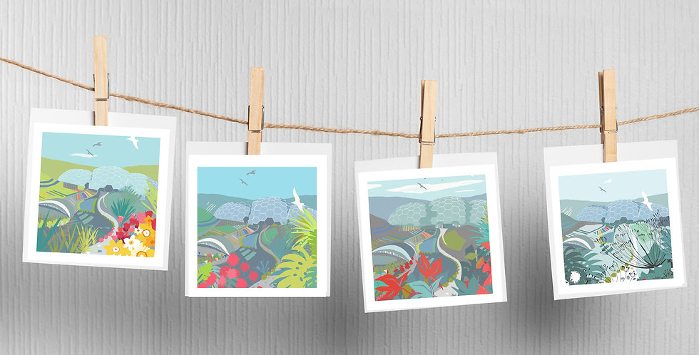 EDEN PROJECT SEASONS Greeting Cards pack of 4 spring . summer . autumn . winter